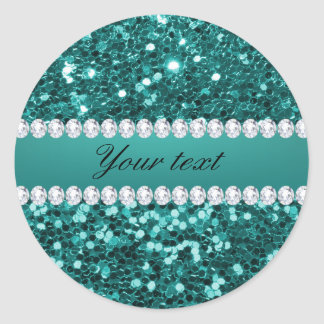 Chic Teal Faux Glitter and Diamonds Classic Round Sticker