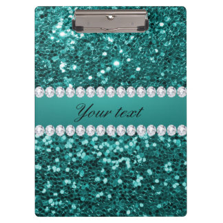 Chic Teal Faux Glitter and Diamonds Clipboard