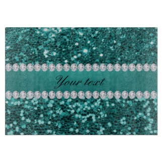 Chic Teal Faux Glitter and Diamonds Cutting Board