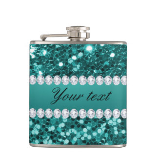 Chic Teal Faux Glitter and Diamonds Hip Flask