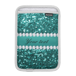 Chic Teal Faux Glitter and Diamonds iPad Mini Sleeve