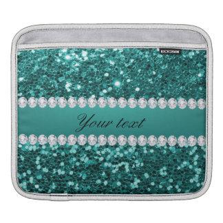 Chic Teal Faux Glitter and Diamonds iPad Sleeve