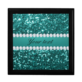 Chic Teal Faux Glitter and Diamonds Jewelry Boxes