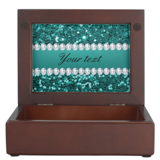 Chic Teal Faux Glitter and Diamonds Keepsake Box