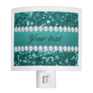Chic Teal Faux Glitter and Diamonds Nite Lights