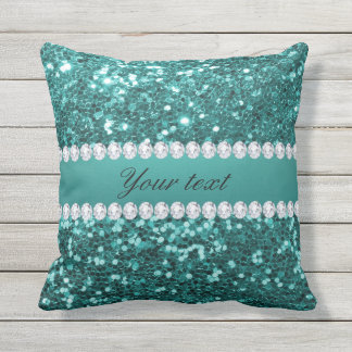 Chic Teal Faux Glitter and Diamonds Outdoor Pillow