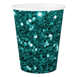 Chic Teal Faux Glitter and Diamonds Paper Cup