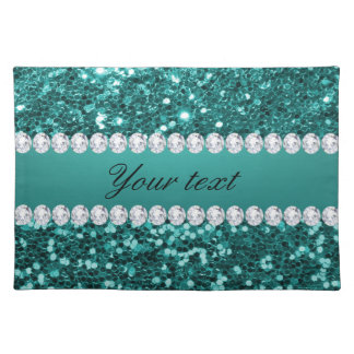 Chic Teal Faux Glitter and Diamonds Placemat