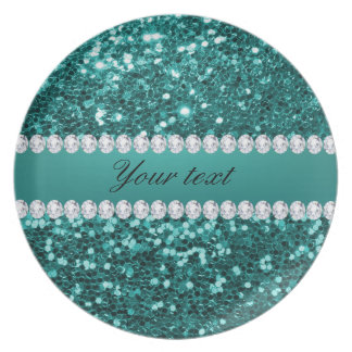 Chic Teal Faux Glitter and Diamonds Plate