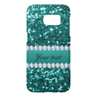 Chic Teal Faux Glitter and Diamonds Samsung Galaxy S7 Case