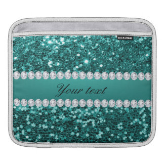 Chic Teal Faux Glitter and Diamonds Sleeve For iPads