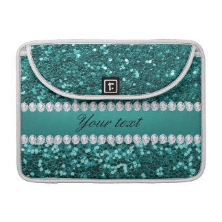 Chic Teal Faux Glitter and Diamonds Sleeve For MacBooks