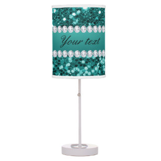 Chic Teal Faux Glitter and Diamonds Table Lamp