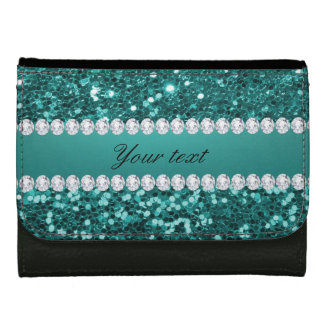 Chic Teal Faux Glitter and Diamonds Wallet