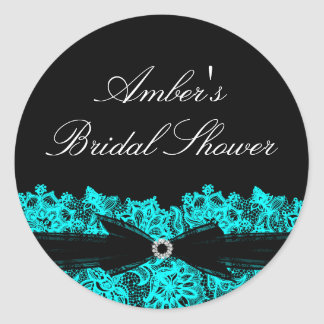 Chic Teal Floral Lace Bridal Shower Sticker