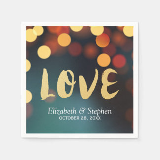Chic Teal Gold Bokeh Glitter String Lights Wedding Paper Napkins