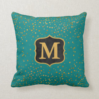 Chic Teal Gold Confetti Dots | Initial Monogram Throw Pillow