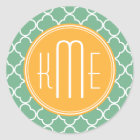 Chic Teal Green Quatrefoil with Yellow Monogram Classic Round Sticker
