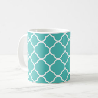 Chic Teal/Green & White Quatrefoil Coffee Tea Mug