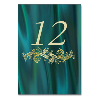 Chic Teal Satin Look Wedding Table Number Card