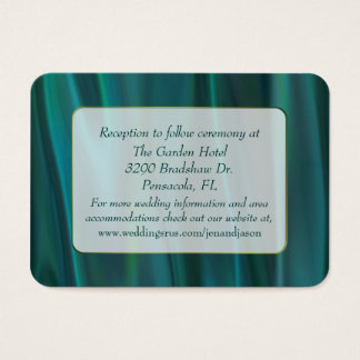 Chic Teal Satin Wedding Enclosure Card