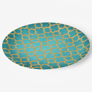 Chic Teal Turquoise Moroccan Quatrefoil Pattern Paper Plate