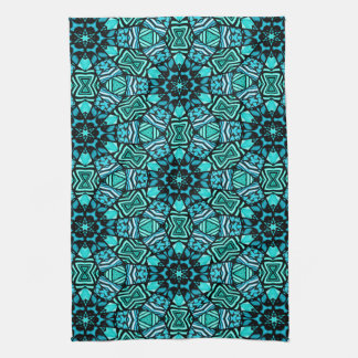 Chic Teal Turquoise Retro Oriental Mosaic Pattern Kitchen Towel