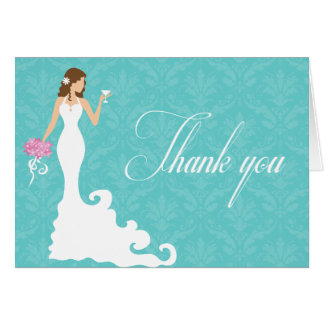 Chic Teal Wine Modern Bride Thank You Card