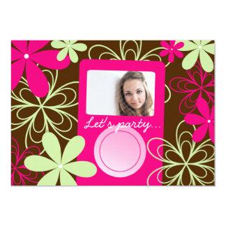 "Chic Teen Girl Birthday Party Photo Invitation 5"" X 7"" Invitation Card"
