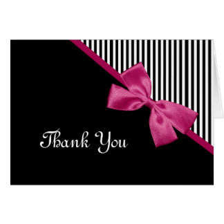 Chic Thank You Black and White Stripes Pink Ribbon Note Card
