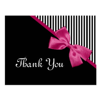 Chic Thank You Black and White Stripes Pink Ribbon Post Cards