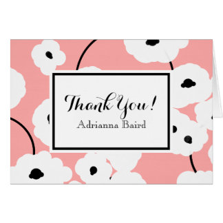CHIC THANK YOU CARD_MOD WHITE AND BLACK POPPIES CARD