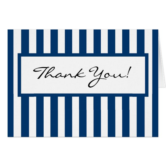 CHIC THANK YOU NOTE_ 158 NAVY/SHITE STRIPES CARD