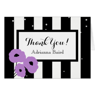CHIC THANK YOU NOTE_MOD LAVENDER POPPIES & STRIPES CARD