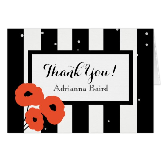 CHIC THANK YOU NOTE_MOD ORAGNE POPPIES & STRIPES CARD