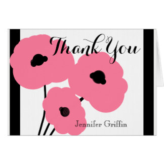 CHIC THANK YOU NOTE_MOD PINK & BLACK POPPIES CARD