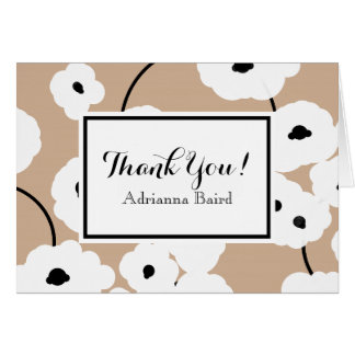 CHIC THANK YOU NOTE_MOD WHITE & BLACK POPPIES CARD