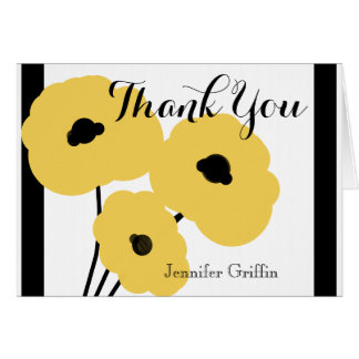 CHIC THANK YOU NOTE_MOD YELLOW & BLACK POPPIES CARD