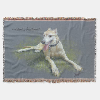 "CHIC THROW_""Adopt a Greyhound"" ORIGINAL PASTEL Throw Blanket"