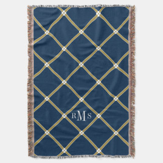 CHIC THROW_BLUE/GOLD/WHITE LATTICE PATTERN THROW BLANKET