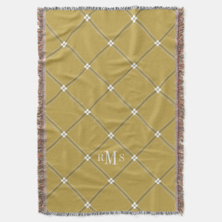 CHIC THROW_CAMEL/WHITE LATTICE PATTERN THROW BLANKET