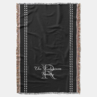 CHIC THROW_FAMILY_BLACK/WHITE/GRAY THROW BLANKET