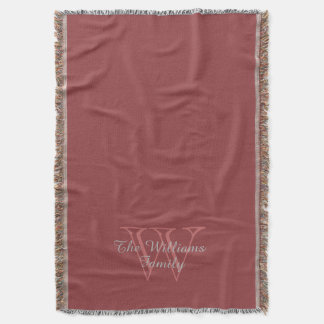 "CHIC THROW_""Family"" NAME OVER MONOGRAM Throw Blanket"