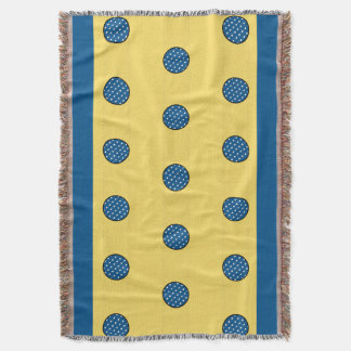 CHIC THROW_FUN YELLOW & BLUE DOTS THROW BLANKET