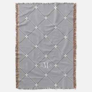 CHIC THROW_GREY/WHITE LATTICE PATTERN THROW BLANKET