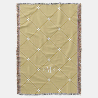 CHIC THROW_KHAKI/WHITE LATTICE PATTERN THROW BLANKET