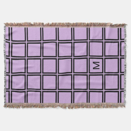 CHIC THROW_LILAC AND BLACK TILE PATTERN THROW BLANKET