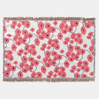 CHIC THROW_MOD CORAL POPPIES THROW BLANKET