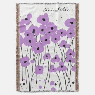 CHIC THROW_MOD LAVENDER POPPIES THROW BLANKET