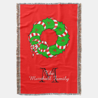 CHIC THROW_MODERN FAMILY CHRISTMAS WREATH THROW BLANKET